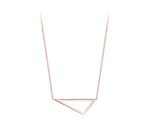 Mini Triangle Necklace | 14K Rose Gold