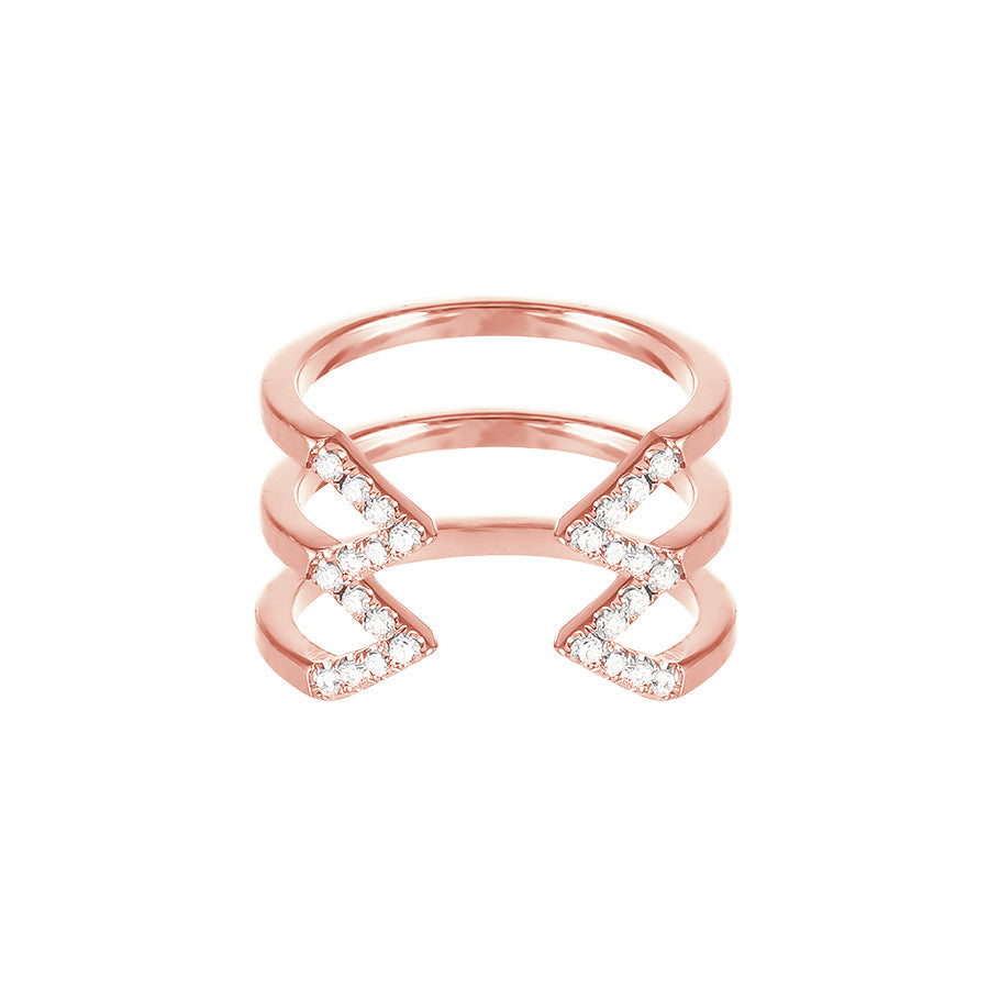Stacked Dagger Ring  | 14K Rose Gold with White Diamonds