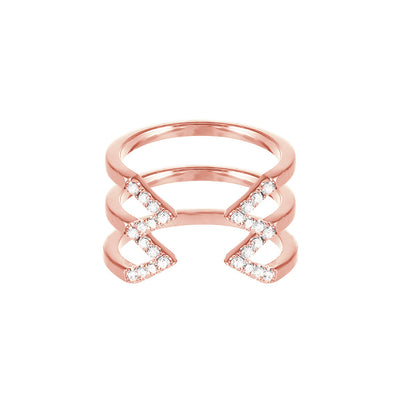 Diamond Stacked Dagger Ring | Rose Gold