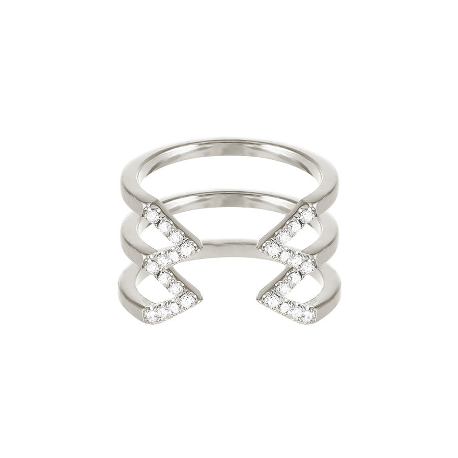 Stacked Dagger Ring  | 14K White Gold with White Diamonds