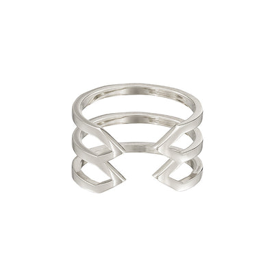 Stacked Dagger Ring | White Gold