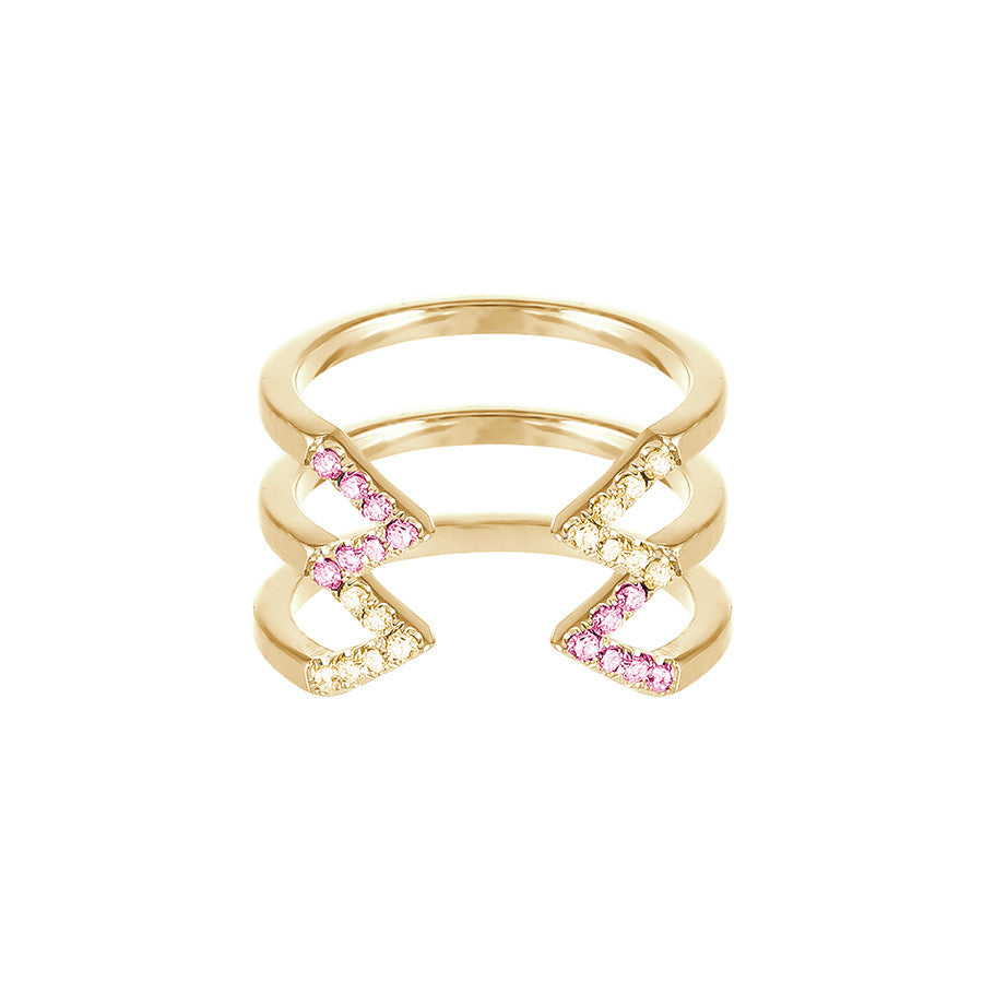 Stacked Dagger Ring  | Gold with Yellow and Pink Sapphires