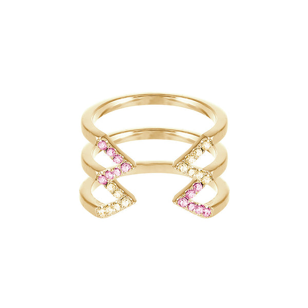 Stacked Dagger Ring  | 14K Gold with Yellow and Pink Sapphires