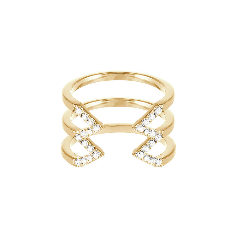 Stacked Dagger Ring  | 14K Yellow Gold with White Diamonds