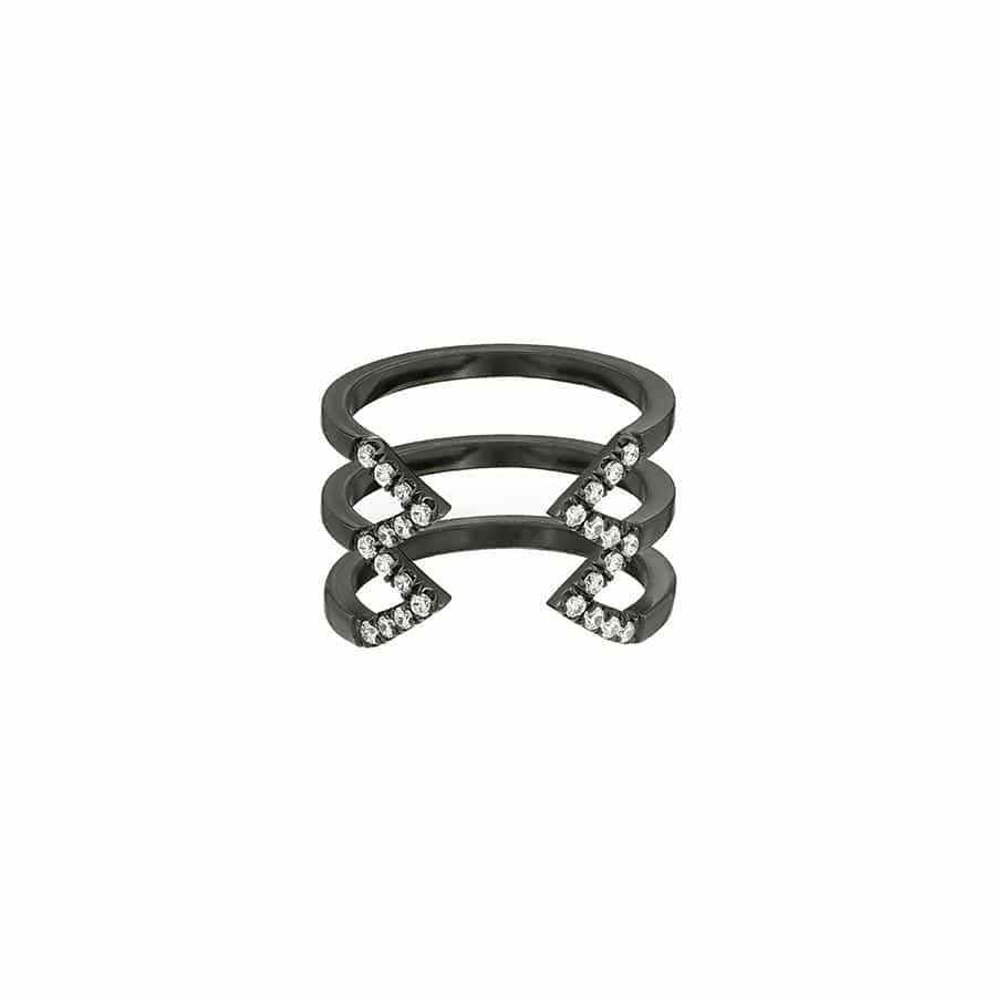 Stacked Dagger Ring - Midi  | 14K Black Gold with White Diamonds