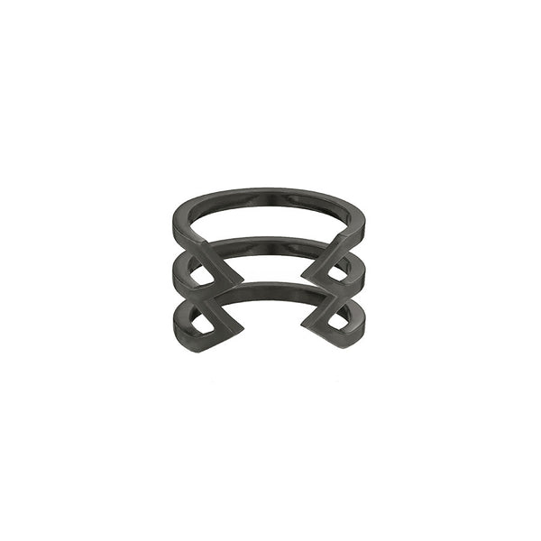 Stacked Dagger Ring - Midi  | 14K Black Gold