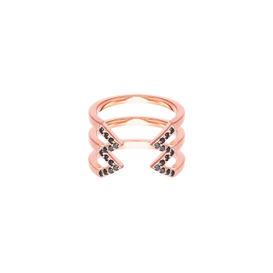 Stacked Dagger Ring - Midi  | 14K Rose Gold with Black Diamonds