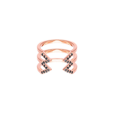 Black Diamond Stacked Dagger Ring - Midi | Rose Gold