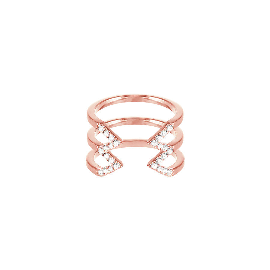 Diamond Stacked Dagger Ring - Midi | Rose Gold