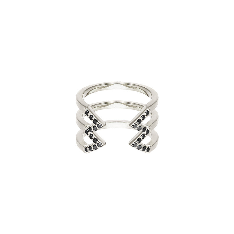 Stacked Dagger Ring - Midi  | 14K White Gold with Black Diamonds
