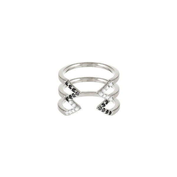 Donna Stacked Dagger Ring - Midi  | 14K White Gold with Diamonds