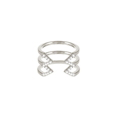 Diamond Stacked Dagger Ring - Midi | White Gold