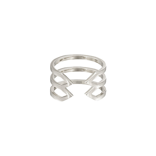 Stacked Dagger Ring - Midi  | 14K White Gold
