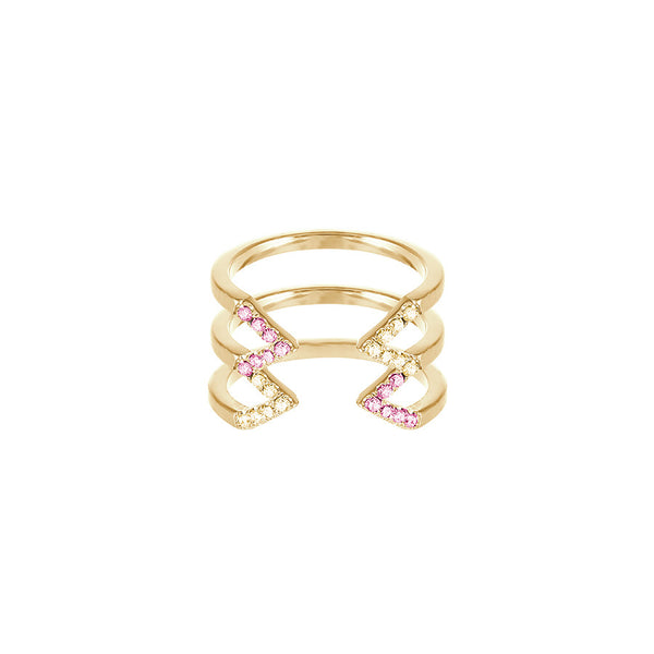 Stacked Dagger Ring - Midi  | 14K Gold with Yellow and Pink Sapphires