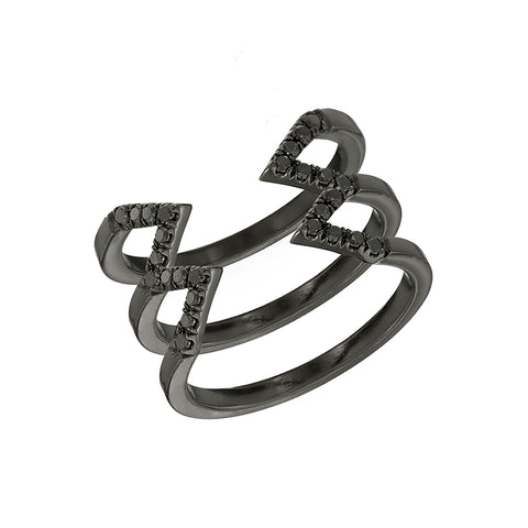 Black Diamond Stacked Dagger Ring | Black Gold