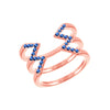 Blue Sapphire Stacked Dagger Ring | Rose Gold