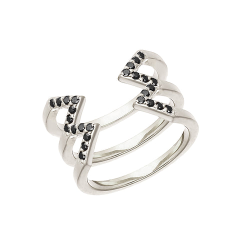 Stacked Dagger Ring  | 14K White Gold with Black Diamonds