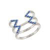 Blue Sapphire Stacked Dagger Ring | White Gold