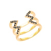 Black Diamond Stacked Dagger Ring | Yellow Gold
