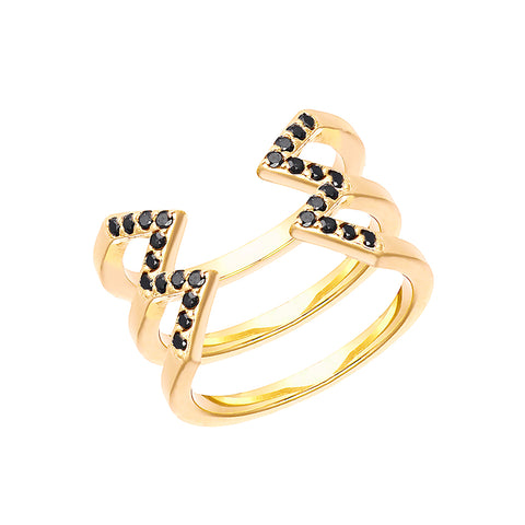 Stacked Dagger Ring  | 14K Yellow Gold with Black Diamonds