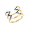Blue Sapphire Stacked Dagger Ring | Yellow Gold