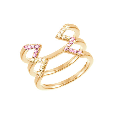 Yellow and Pink Sapphire Stacked Dagger Ring | Yellow Gold