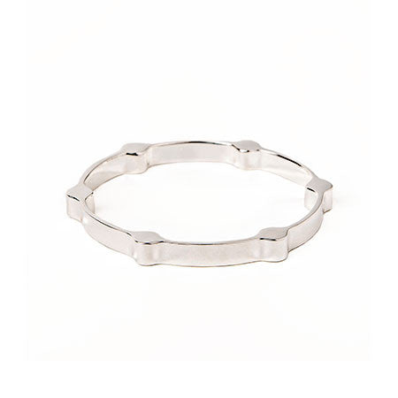 Gear Bangle | Silver Plated Brass