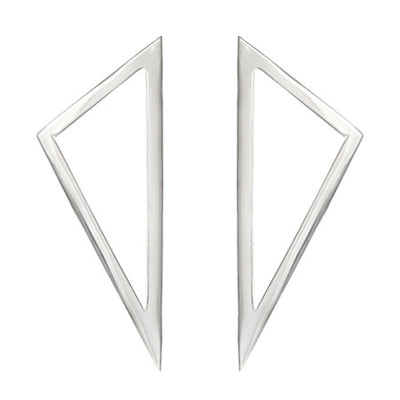 Large Triangle Earrings | White Gold