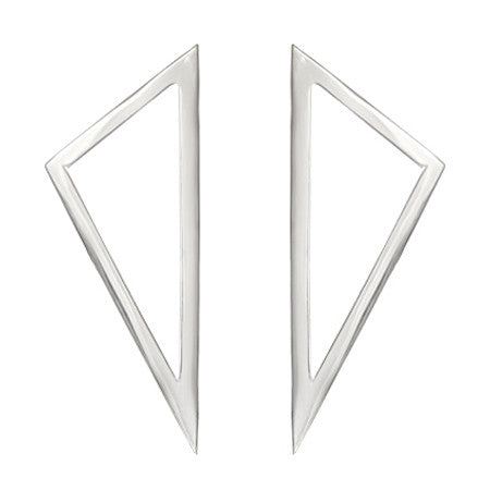 Triangle Earrings | 14K White Gold