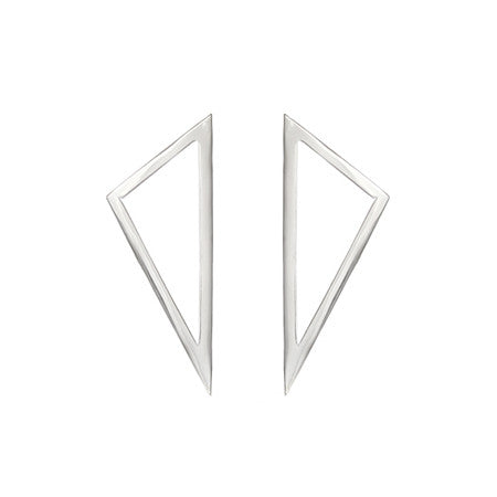 Medium Triangle Earrings | 14K White Gold