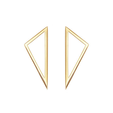Medium Triangle Earrings | 14K Yellow Gold