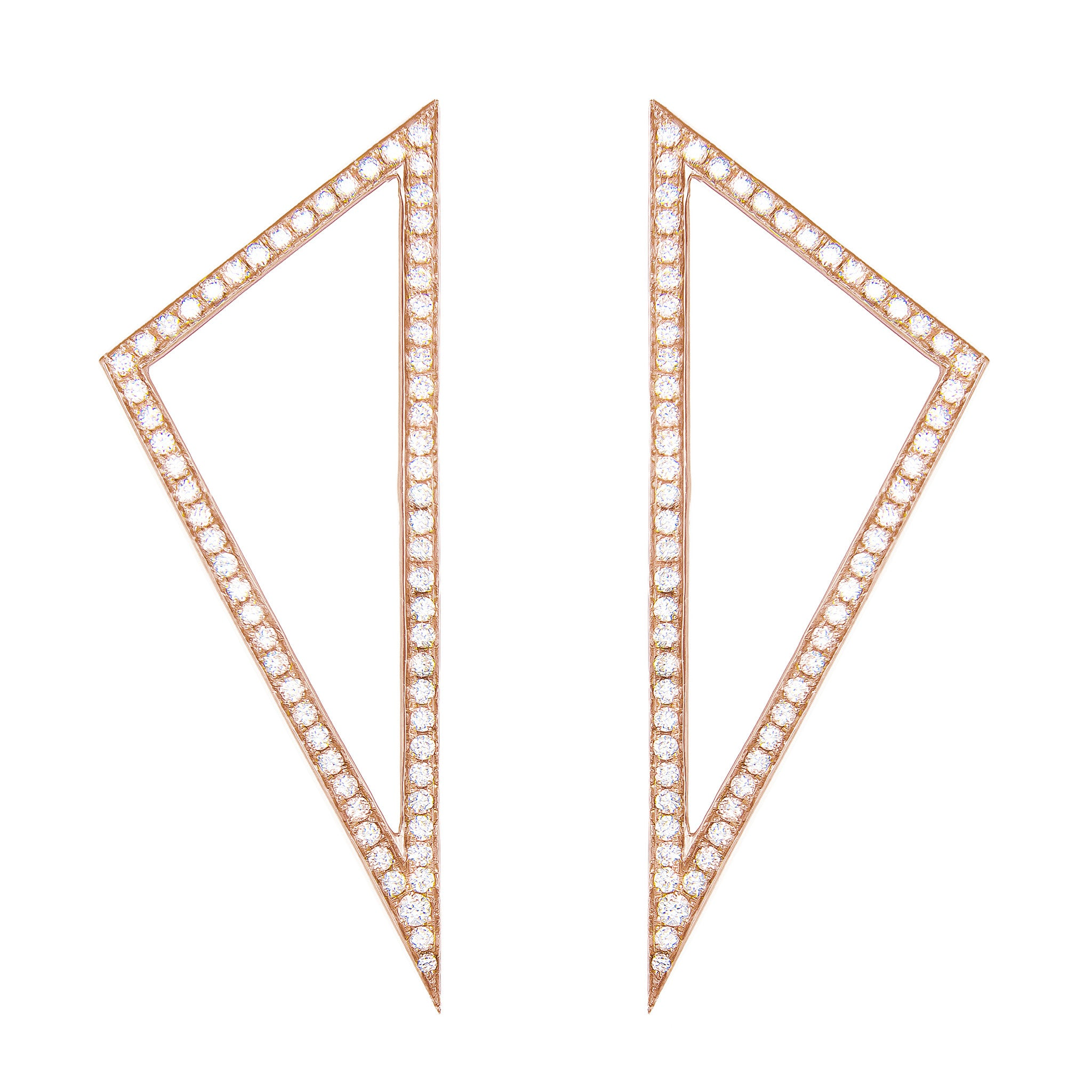 Large Diamond Triangle Earrings | 14K Rose Gold