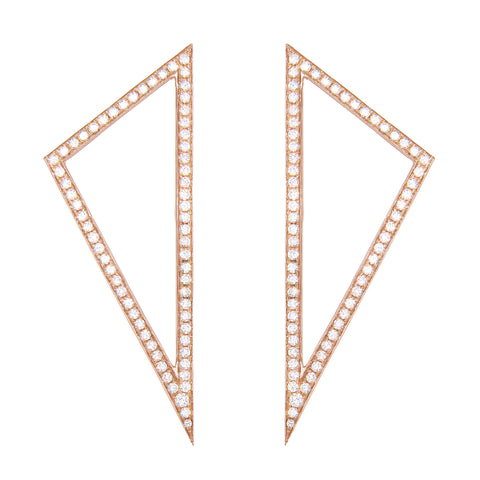 Large Diamond Triangle Earrings | Rose Gold