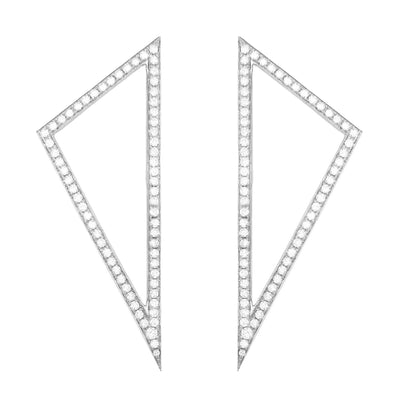Large Diamond Triangle Earrings | White Gold