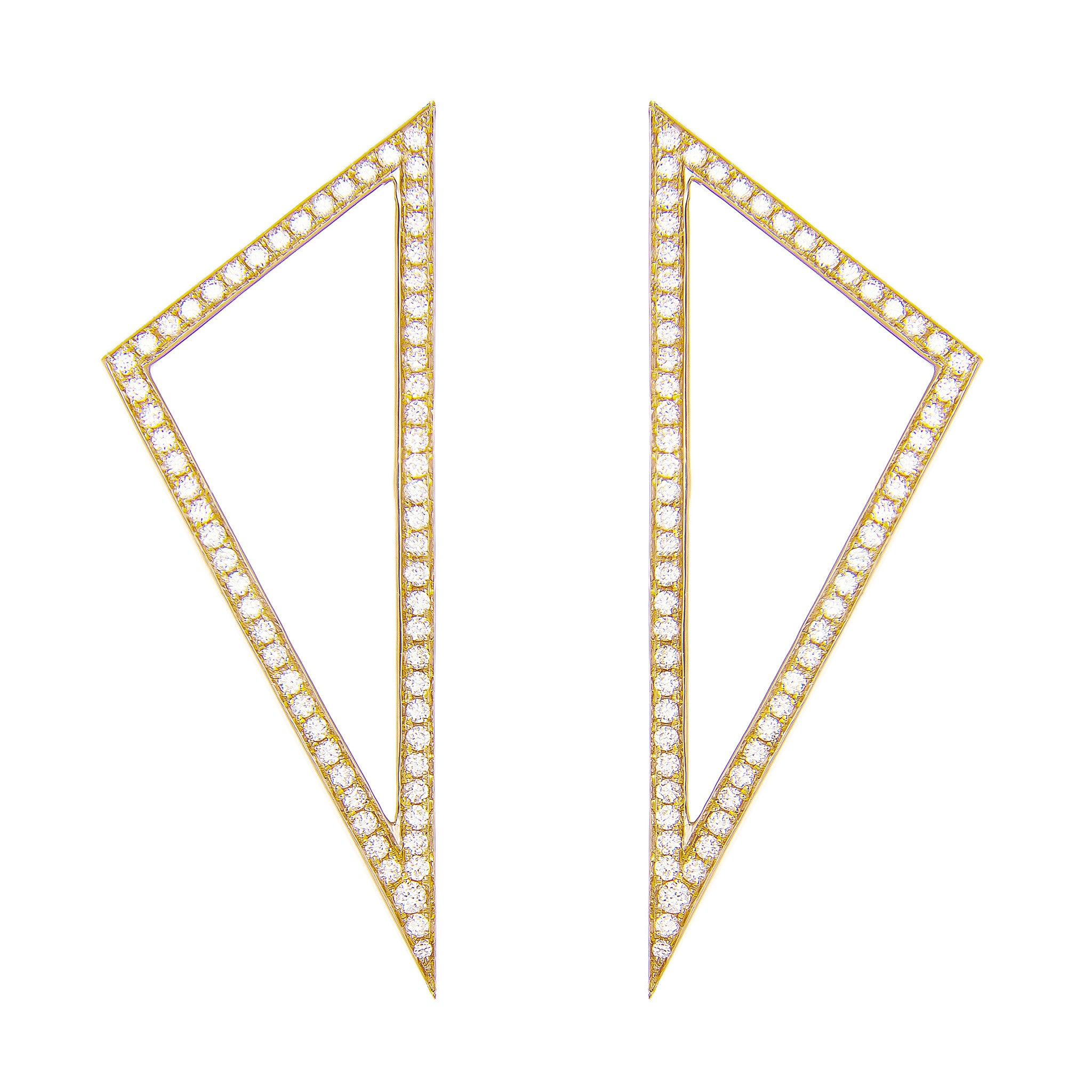 Large Diamond Triangle Earrings | Yellow Gold