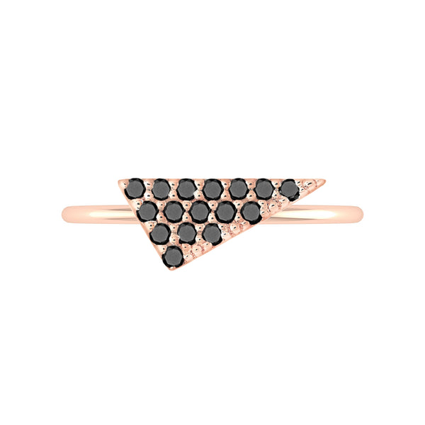Triangle Geo Stacker | Rose Gold with Black Diamonds
