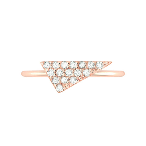 Triangle Geo Stacker | Rose Gold with White Diamonds