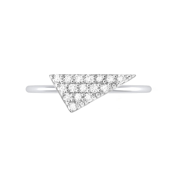 Triangle Geo Stacker | White Gold with White Diamonds