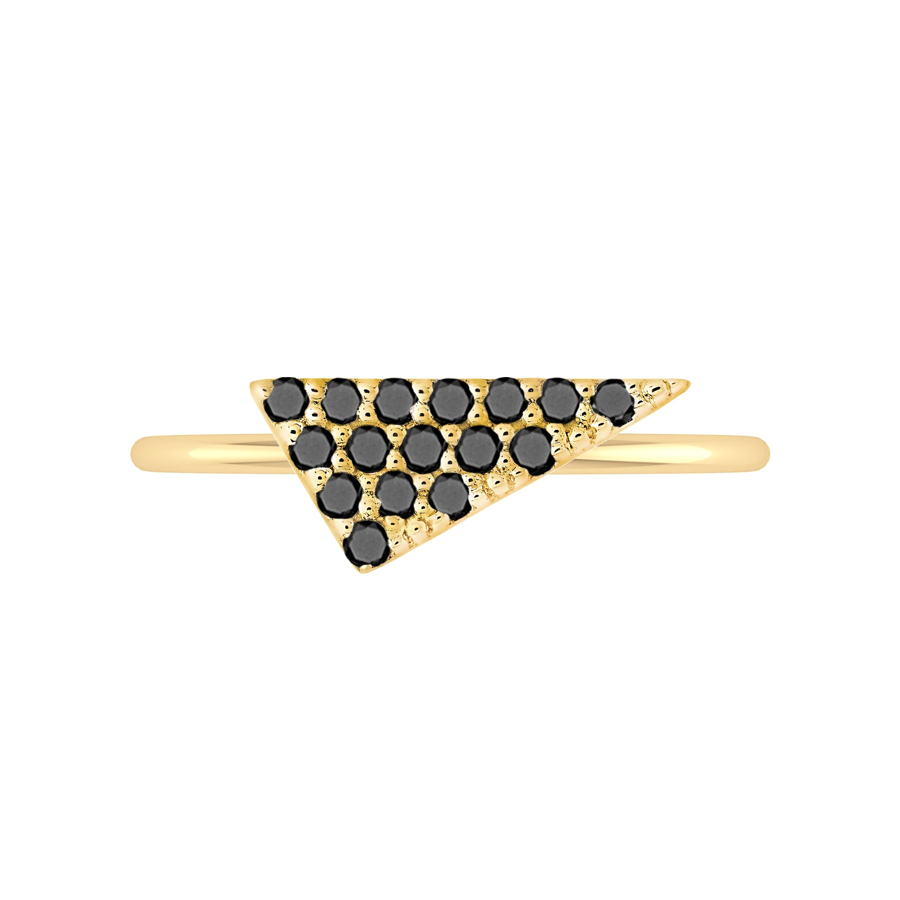 Triangle Geo Stacker | Yellow Gold with Black Diamonds
