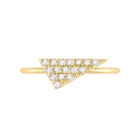 Triangle Geo Stacker | Yellow Gold with White Diamonds