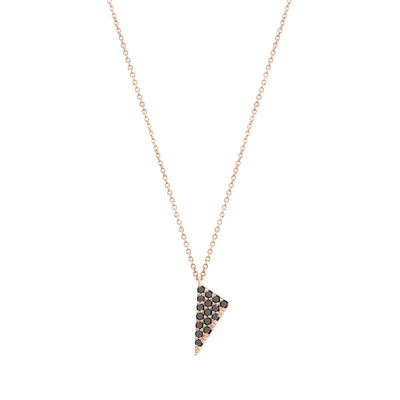 Black Diamond Mini Triangle Charm Necklace | Rose Gold  Necklace Rachel Katz Jewelry