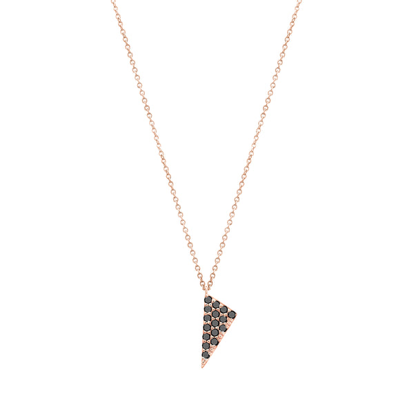 Mini Triangle Charm Necklace | 14K Rose Gold with Black Diamonds
