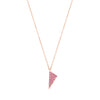 Pink Sapphire Triangle Charm Necklace | Rose Gold