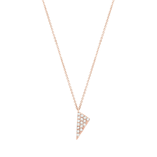 Mini Triangle Charm Necklace | 14K Rose Gold with White Diamonds