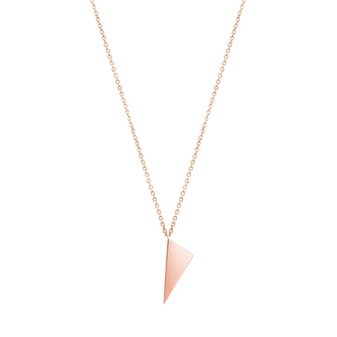 Mini Triangle Charm Necklace  | 14K Rose Gold