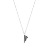 Black Diamond Mini Triangle Charm Necklace | White Gold