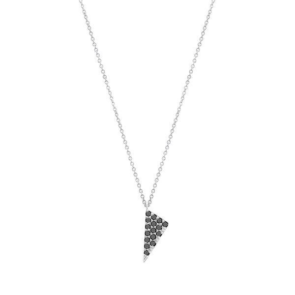 Mini Triangle Charm Necklace | White Gold With Black Diamonds