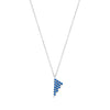 Blue Sapphire Triangle Charm Necklace | White Gold