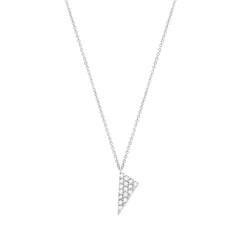 Mini Triangle Charm Necklace | White Gold With White Diamonds