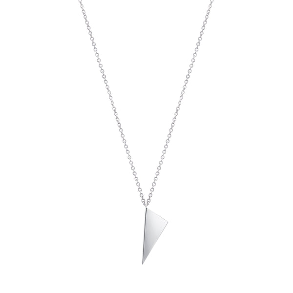 Mini Triangle Charm Necklace | White Gold